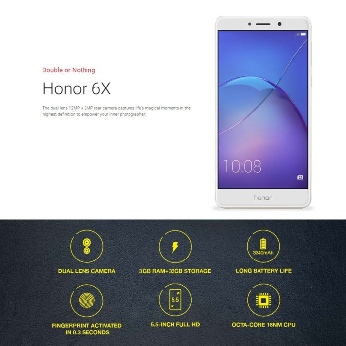 Huawei Honor 6X - smartphone cu camera duala si memorie buna la pret accesibil