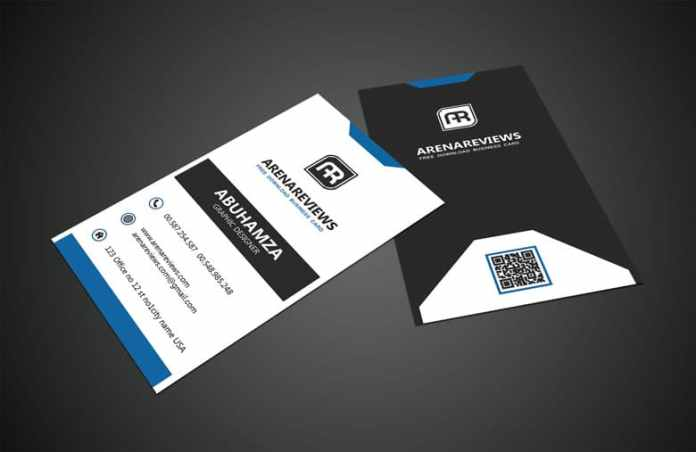 Black white vertical business card standard template flashek Gallery