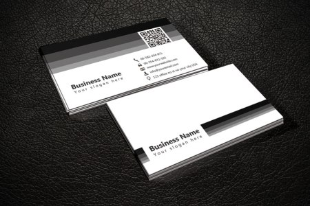 Black   White QR Code Business Card Template Free black   white QR Code business card template