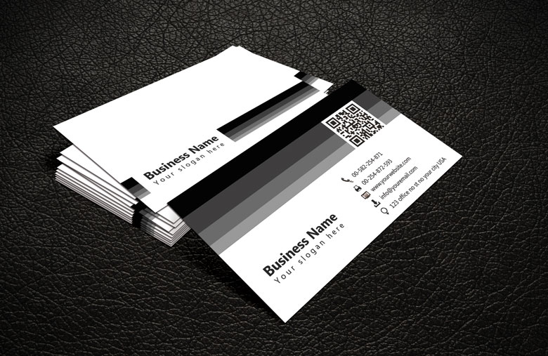 Black White QR Code Business Card Template Free - Office business card template