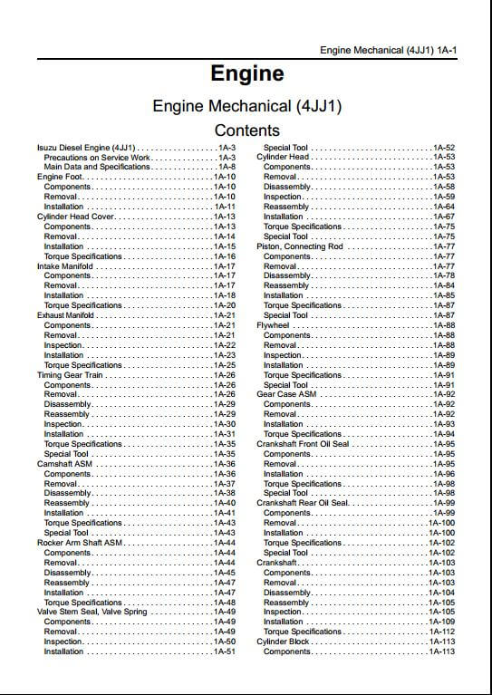 Isuzu A1 4jj1sel Engine Workshop Service Repair Manual