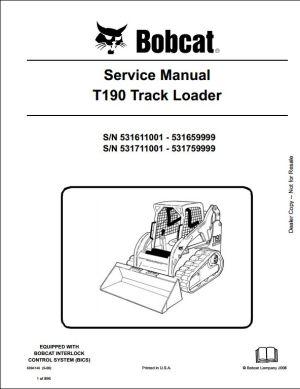 Bobcat T190 Track Loader Service Repair Workshop Manual