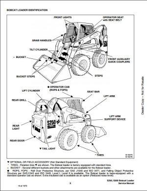 Bobcat S250 S300 Turbo High Flow Skid Steer Loader Service