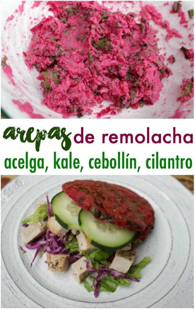 Arepa de Remolacha, Kale, Acelga, Cilantro, Cebollín y Pimentón
