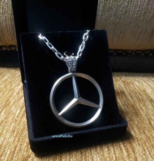 mercedes silver necklace
