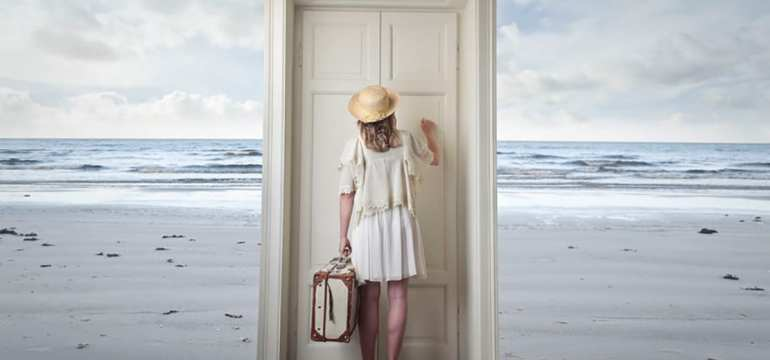 woman knocking on door at beach