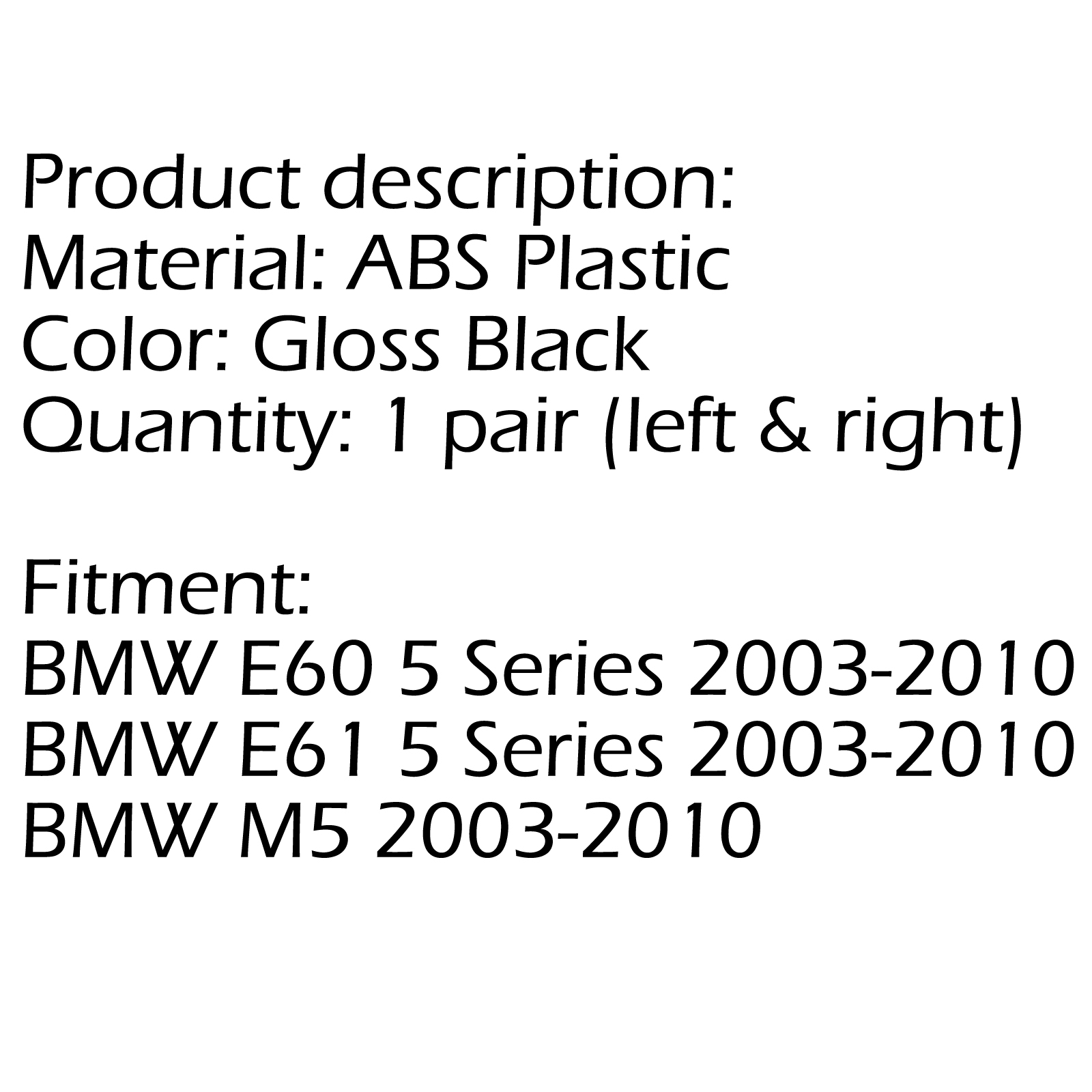 Front Gloss Black Sport Wide Grille For Grill Bmw E60 E61