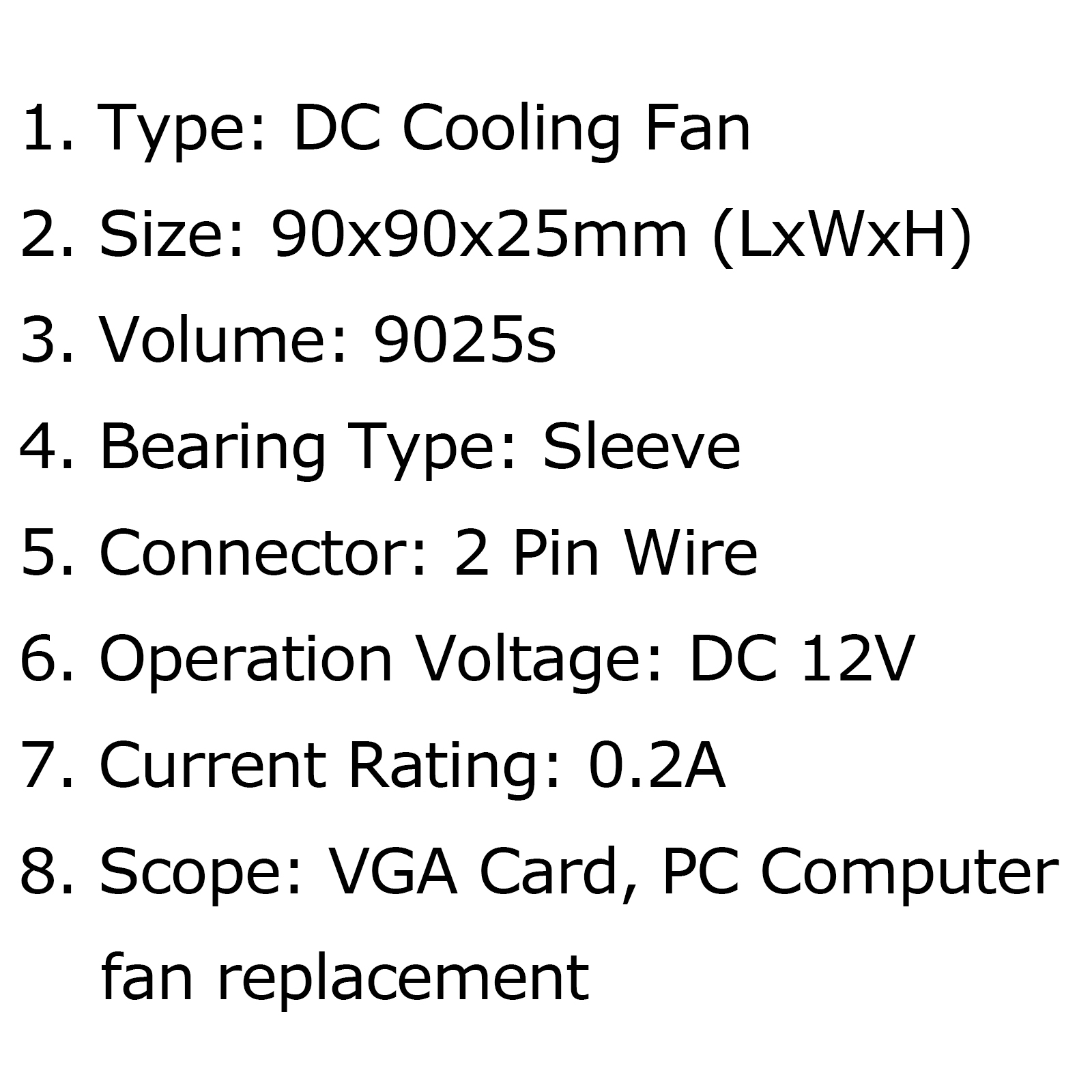 Dc Brushless Cooling Pc Computer Fan 12v 0 2a S 90x90x25mm 2 Pin Wire Au5