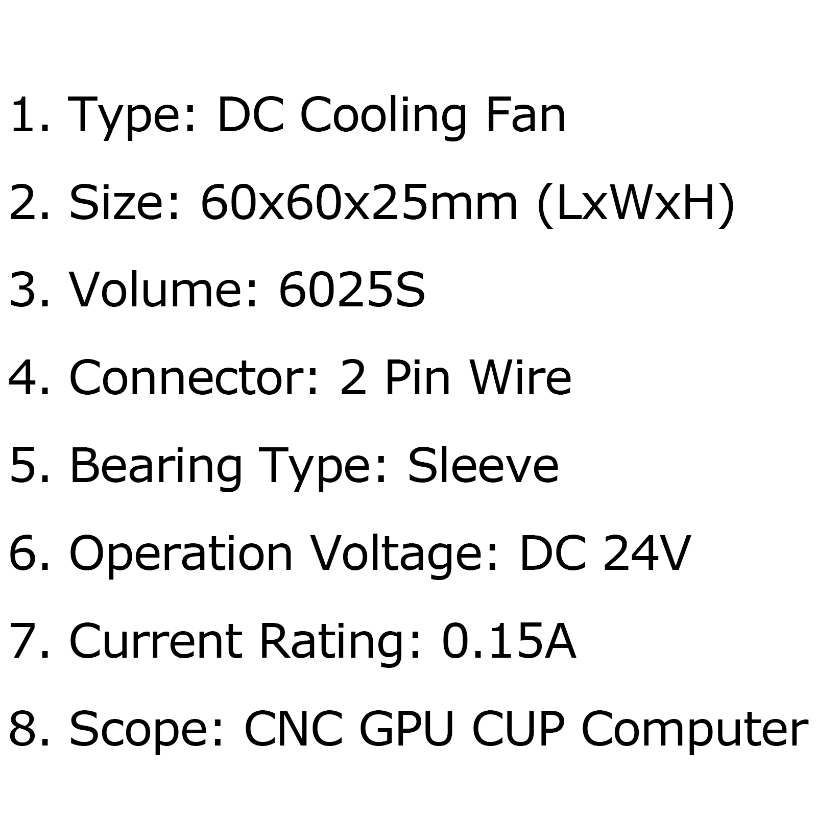 Dc Brushless Cooling Fan 24v 0 15a S 60x60x25mm 2 Pin