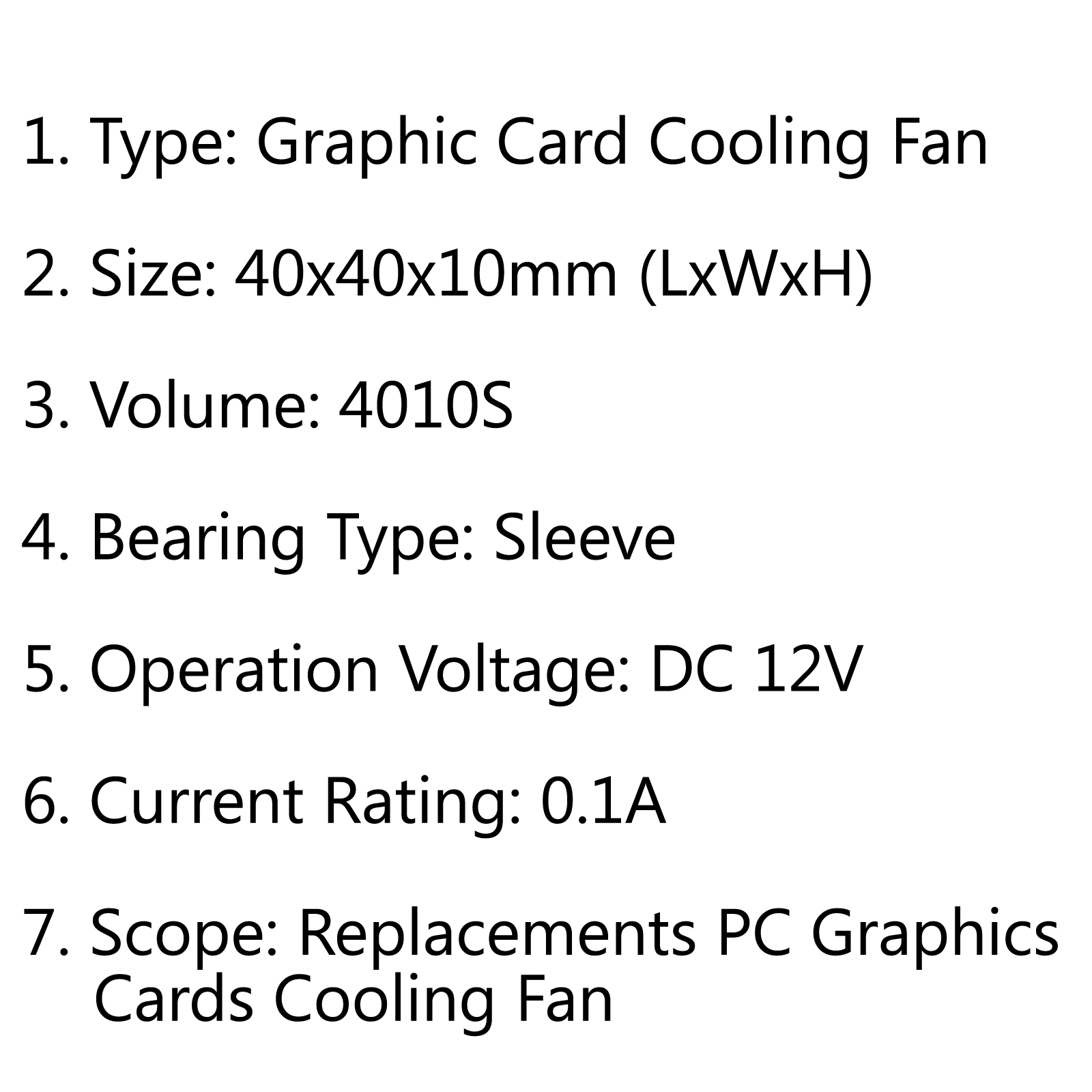 Graphic Card Cooling Cooler Fan S 40x40x10mm 12v 0 1a
