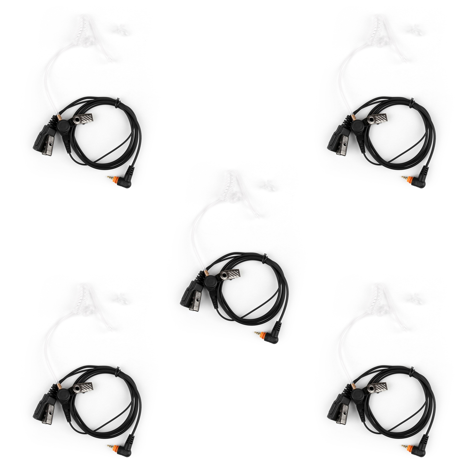5x Covert Acoustic Tube Earpiece Headset Ptt For Motorola