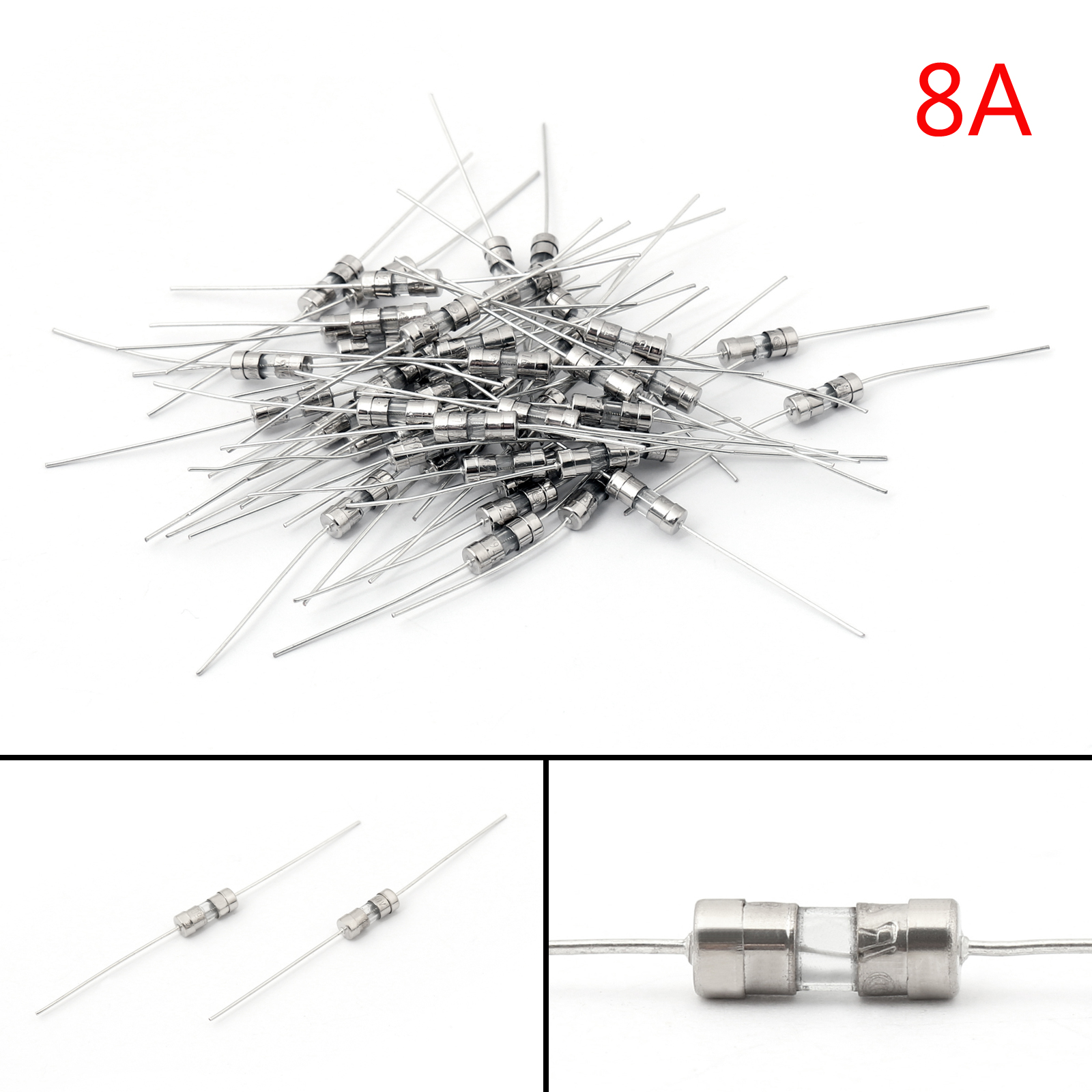 200pcs Glass Tube Fuse Metal Axial Double Hat Fast Blow Fuse 3 6x10mm 250v 8a B1