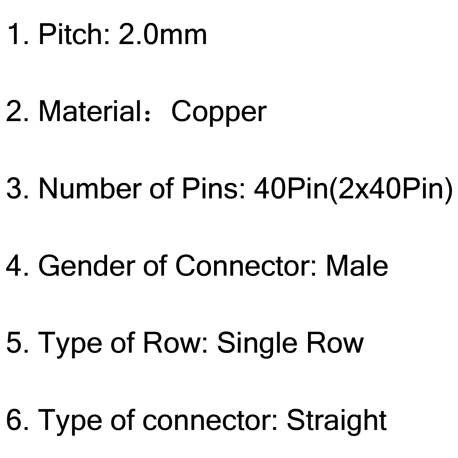 10pcs Copper 2x40pin 2 0mm Male Single Row Needle Straight