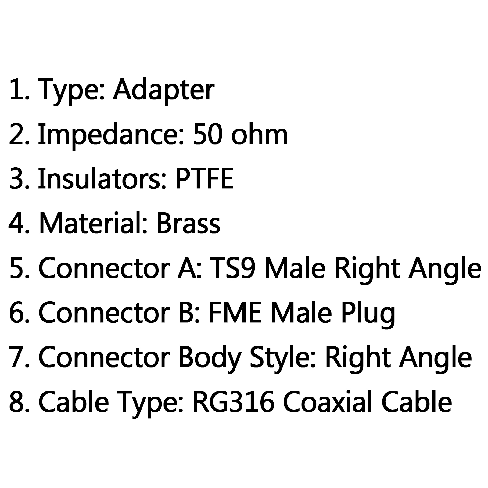 4pcs Rg316 Cable Ts9 Male To Fme Male Plug Right Angle Rf