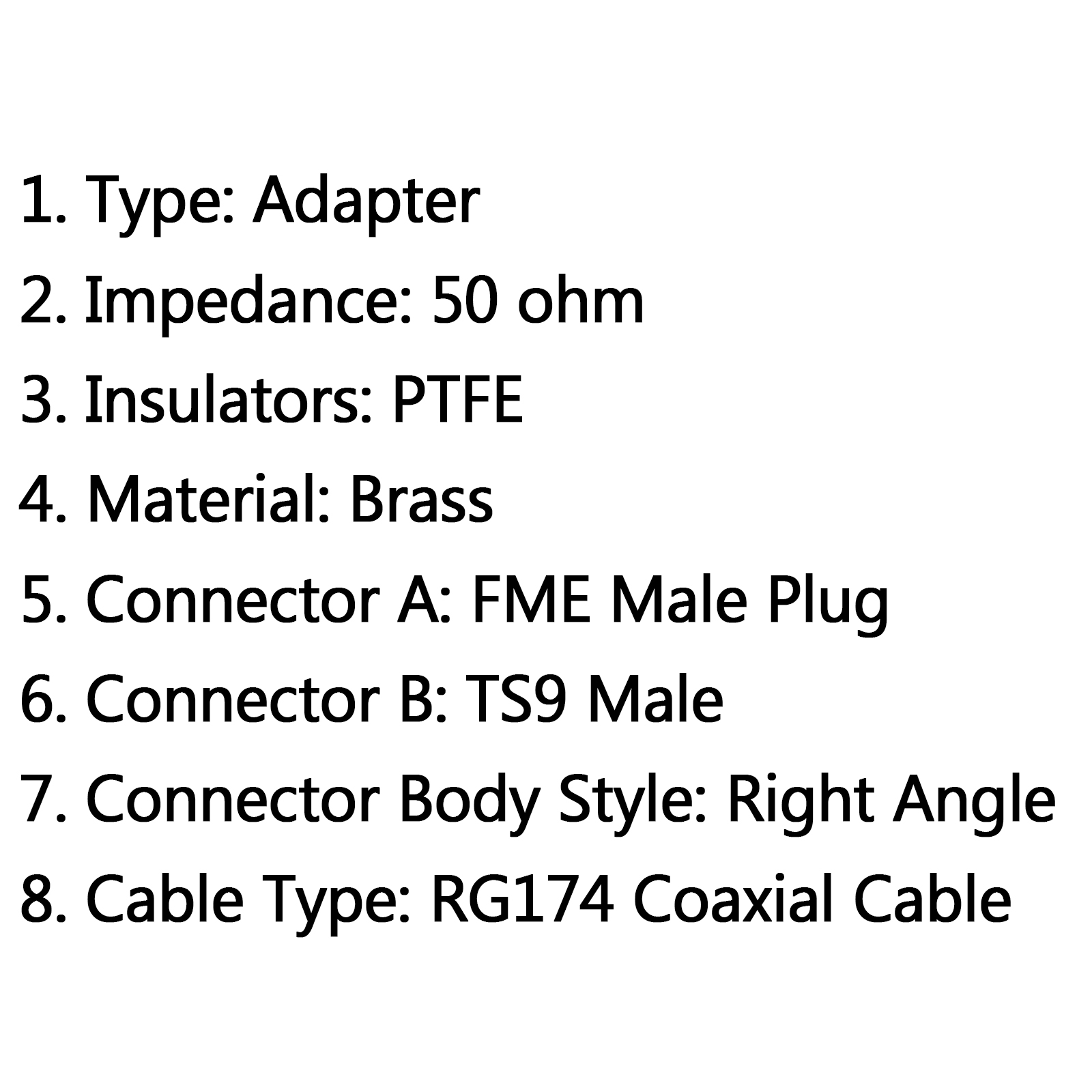 1pcs Rg174 Cable Fme Male Plug To Ts9 Male Right Angle Rf