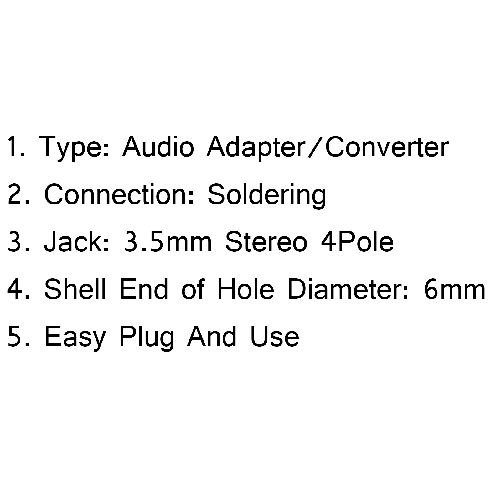 1pcs 3 5mm Stereo 4pole Male Jack Plug Audio Solder For