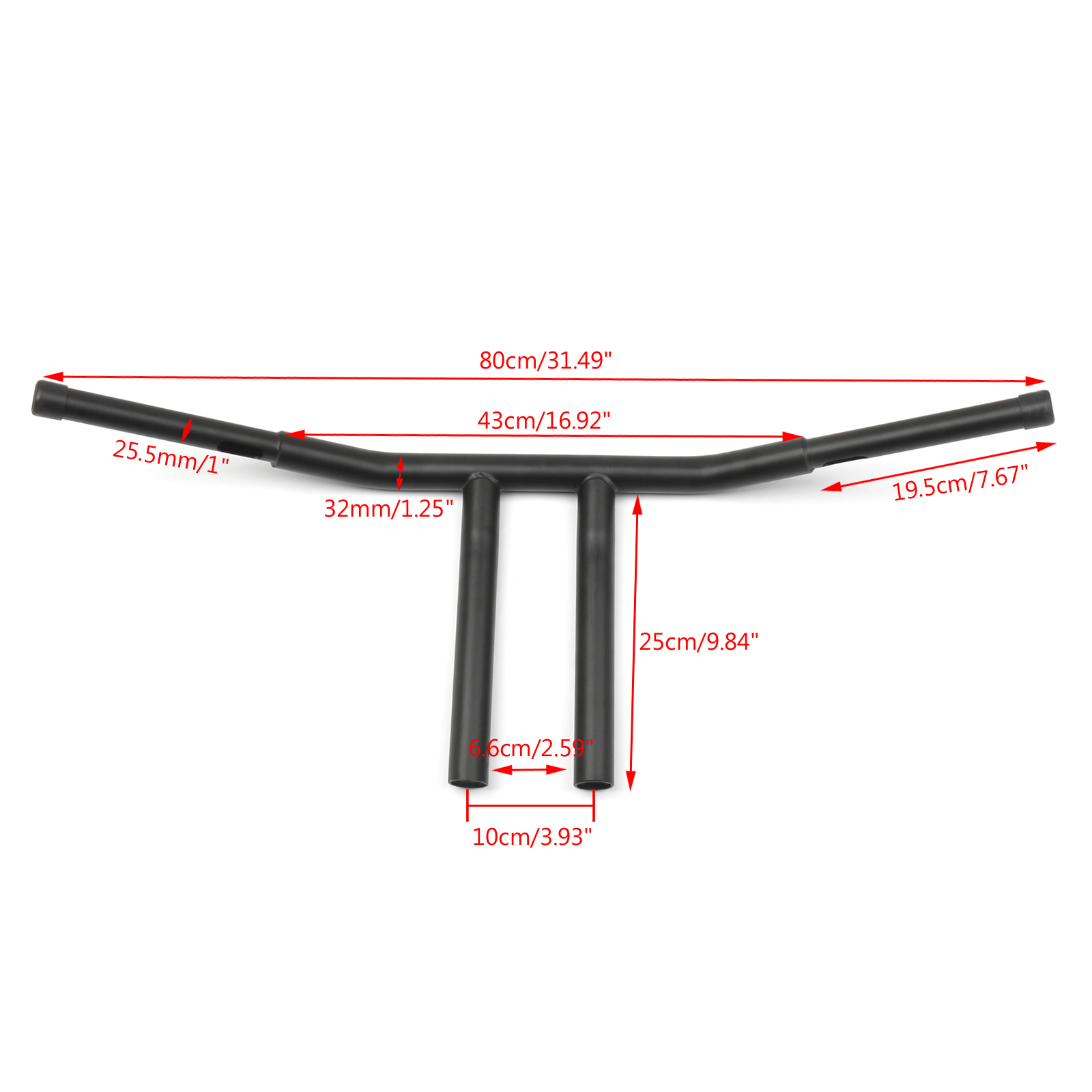 Black 1 25 Buffalo Style 10 Chopper T Bar Handlebars For