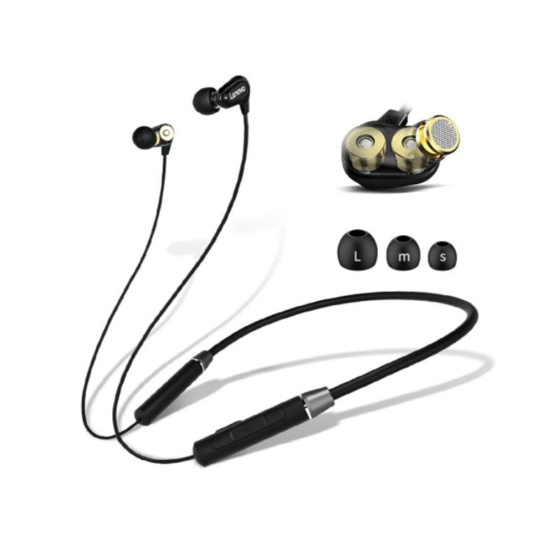 Lenovo HE08 Dual Dynamic Bluetooth Neckband In Ear Earbuds