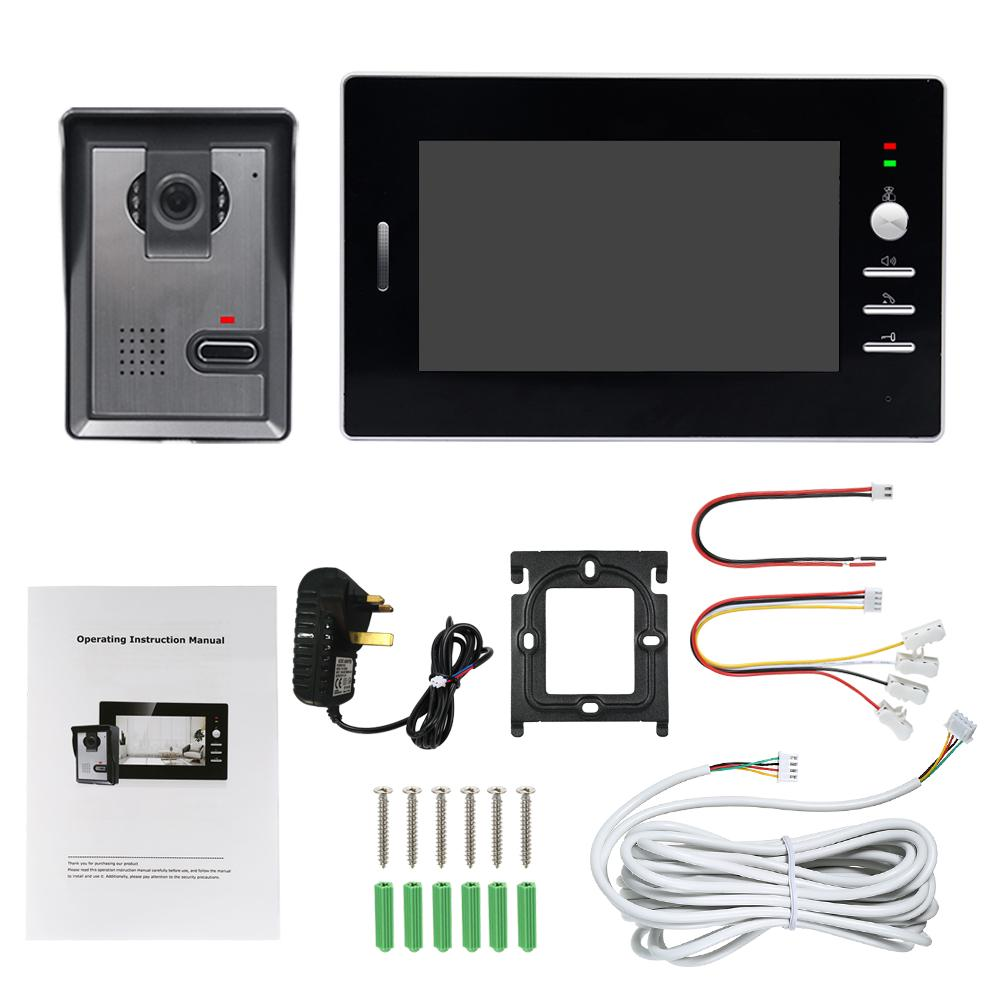 Video Doorbell 7 Inch Monitor 4-core Wired Video Doorbell Phone System
