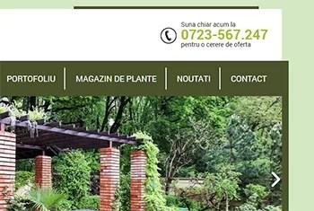Datele de contact de pe siteul de prezentare ale unei firme de amenajari gradini din Bucuresti
