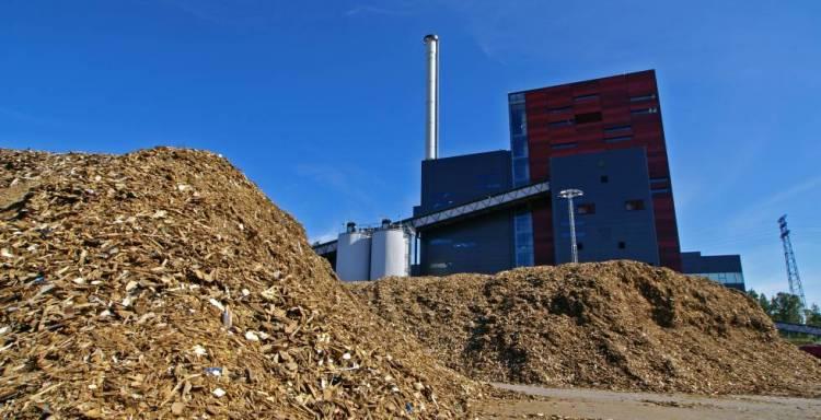 Planta de biomasa generada con restos madereros.