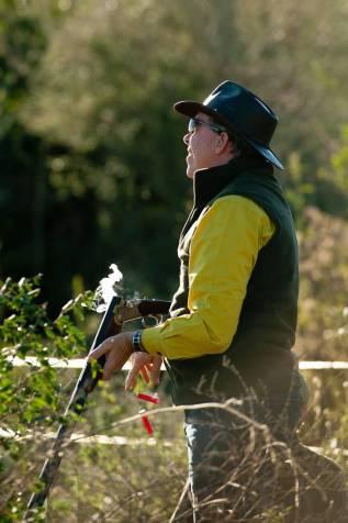 Hunter hunting doves