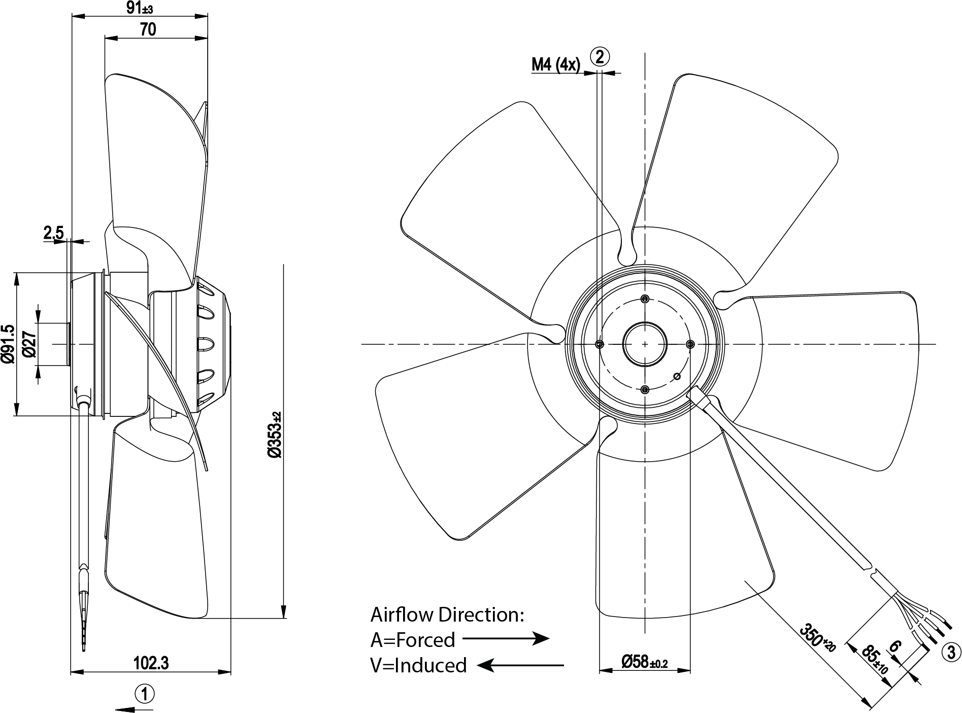 350mm Axial Fan Induced Air Flow