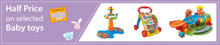 Half price on selected Baby Toys. Prices shown already include discount. Subject to availability. Offer ends 25/09/2012.