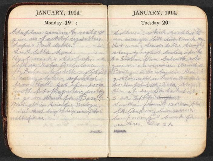 Pocket diary of Rifleman William Eve of 1/16th (County of London) Battalion (Queen's Westminster Rifles), The London Regiment, for the period 1 to 20 January 1915. (Credits: NAM)