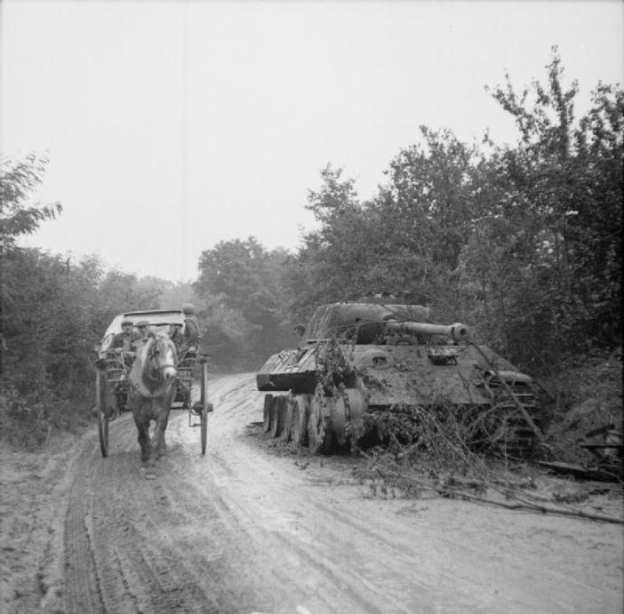 French civilians in a pony and trap pass a knocked-out German Panther tank in the Falaise-Argentan area, 22 August 1944.