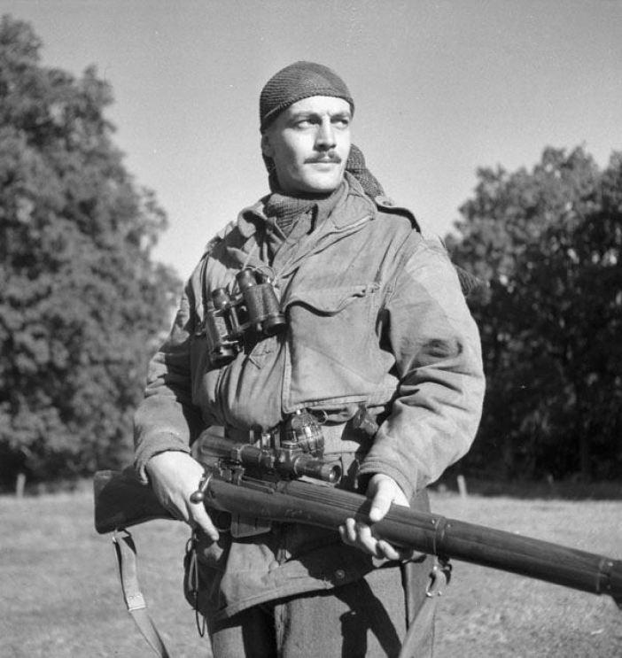 Sergeant sergeant H.A. Marshall of the Calgary Highlanders Sniping Platoon. Kapellen, Belgium.