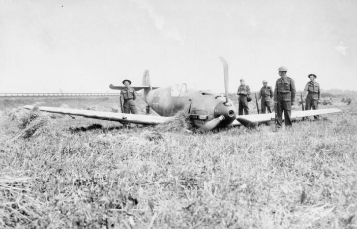 Messerschmitt Bf 109E-1 of Oberleutnant Paul Temme, Gruppe Adjutant of I/ JG 2 'Richtofen', which crashed near Shoreham aerodrome in Sussex on 13 August 1940