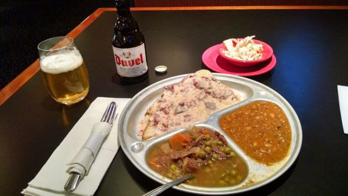 The Sampler Platter of Trench Stew, Chipped Beef, and Army Goulash. And a Duvel, because every meal should have a Duvel.