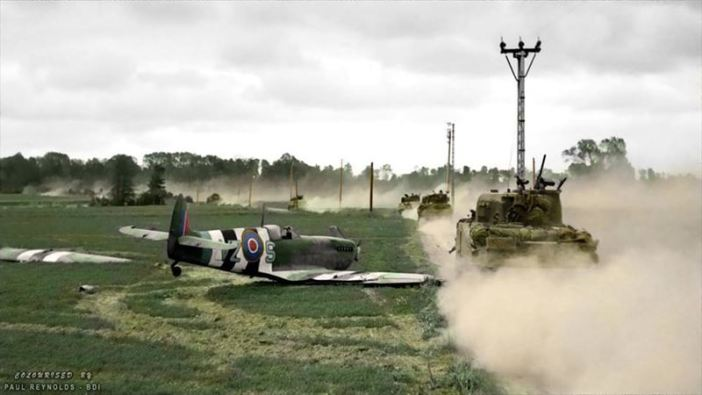 On the 11th of June 1944, F/O H.G. Garwood of 412 Squadron was flying VZ-S (MJ 255) MK IXc Spitfire when it suffered an engine failure* near Tilly-sur-Seulles, France, during the allied invasion. He was forced to execute a wheels-up landing which tore the port wing off as it looped in the grass. Fortunately Garwood was able to make it back to his base unharmed.