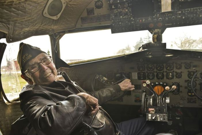 Retired Lt. Col. Alston Daniels beams as he sits in the cockpit of a Douglas C-47D Skytrain for the first time since 1962 April 7, 2015, at Fairchild Air Force Base, Wash. Daniels flew the C-47 during World War II and had the chance to visit the aircraft while it is on static display. (Credit: U.S. Air Force/ Staff Sgt. Alex Montes)