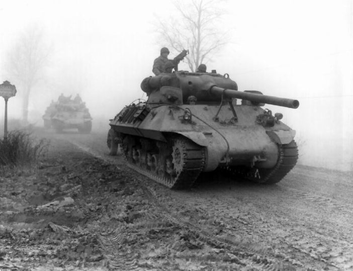 American tank destroyers of the 703rd TD, attached to the 82nd Airborne Division move forward during heavy fog to stem German spearhead near Werbomont, Belgium, 20 December 1944.