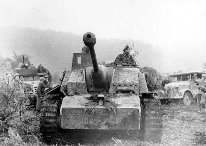 A German Sturmgeschütz assault gun during the Ardennes offensive.
