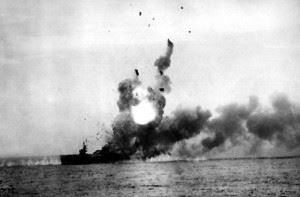 St. Lo explodes after kamikaze strike.