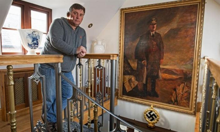 Kevin Wheatcroft at home in Leicestershire, where he keeps one of the largest collections of German military vehicles and Nazi memorabilia. (Credits: David Sillitoe for the Guardian)
