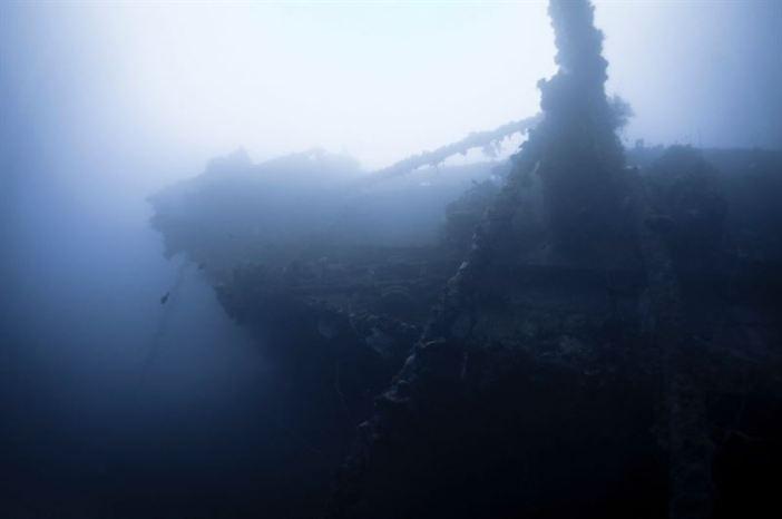 Shipwreck of the Nippo Maru resting in Truk Lagoon. (Credits: Brandi Mueller)