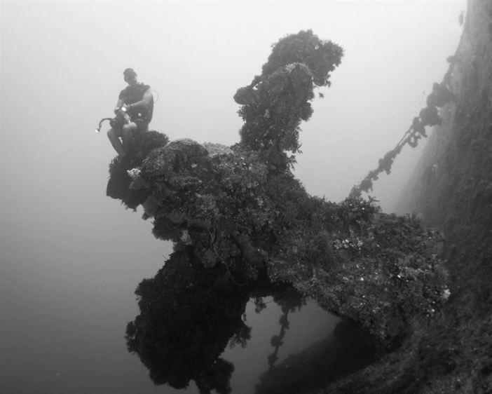 Propeller of the Rio de Janeiro Maru, Truk Lagoon. (Credits: Brandi Mueller)