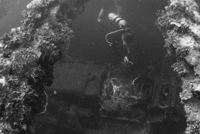 Vehicle wreck inside the Hoki Maru. (Credits: Brandi Mueller)