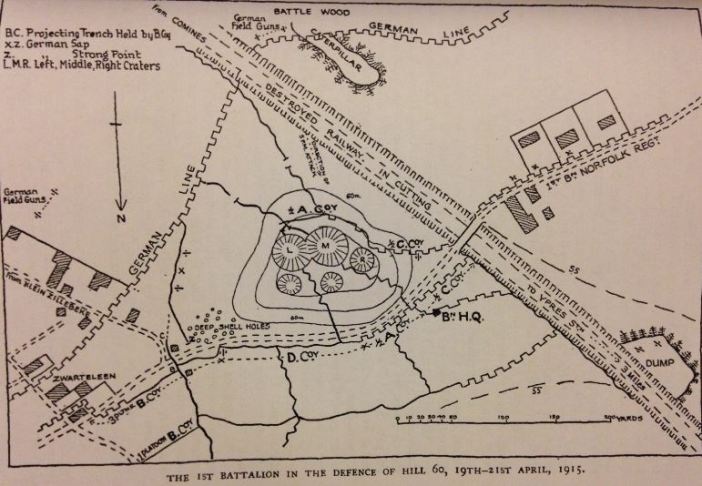 The 1st Battalion's position at Hill 60