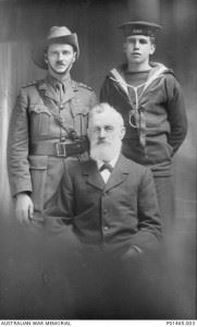 Studio portrait of Captain Henry William (Harry) Murray DCM, 13th Battalion (left), with his nephew Keith Murray Adams RN (right), and Uncle Captain William Thomas Littler. (Credits: AWM)