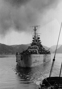 The Battleship Tirpitz in Norwegian waters in 1942-44. (Credits: U.S. Naval Historical Center)