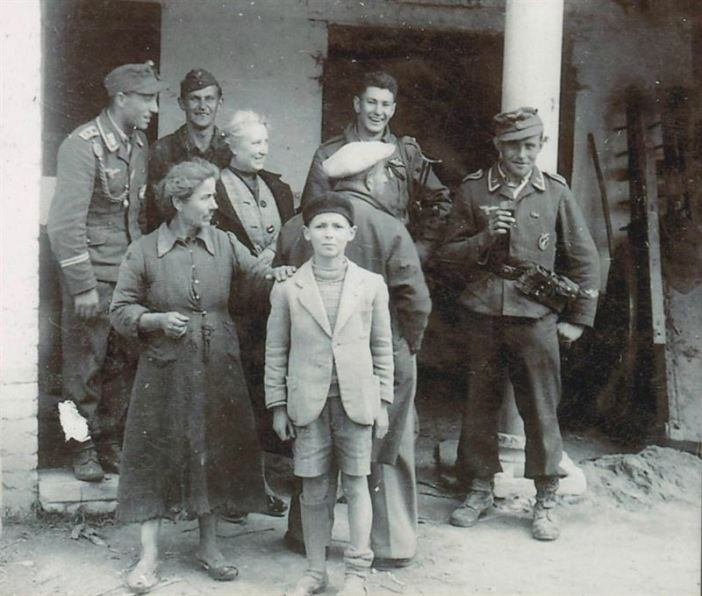 """Once Wartime Friends"" Peter During with 3 of his former captors, soldiers of a Luftwaffe Flak unit."