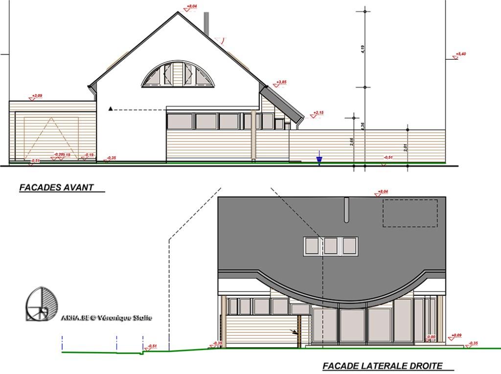 élévations maison passive éco-bio-climatique conçue par Véronique Staffe