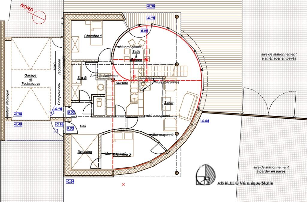 plan maison passive au nombre d'or conçue par Véronique Staffe