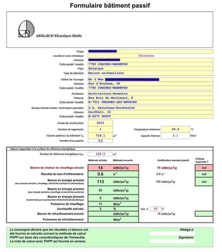 rapport PHPP maison passive bio écologique et climatique conçue par Véronique Staffe