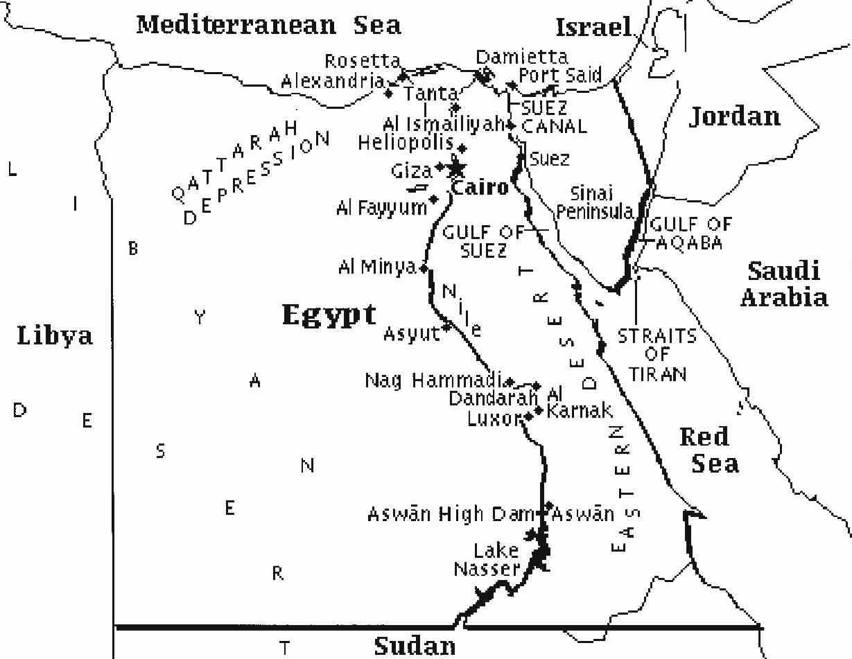 Egypt Map Sheet Coloring Pages